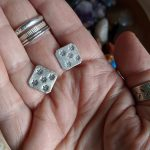 Saffa Stud Earrings, fair trade, Stud earrings, studs, square studs, fairly traded, silver, fine silver, ethical, handmade, oxidised, stamped silver, slow fashion, ethical fashion, gifts for her, everyday wear, unusual earrings, handmade earrings, small earrings, square earrings