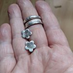 Fair Trade, fair trade jewellery, fairtrade earrings,Sakari Stud Earrings, Stud earrings, studs, flower studs, fairly traded, silver, fine silver, ethical, handmade, oxidised, stamped silver, slow fashion, ethical fashion, gifts for her, everyday wear, unusual earrings, handmade earrings, small earrings