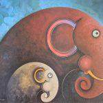 Elephant, Elephant Painting, Picture, artwork, art, elephant art, elephant image, elephants in art, box frame, boxframed art, original, quirky art, creative, colours, juicy colours, round shapes, ying yang, zen, harmony, sustainably produced, ethical , Sunshine Stroll