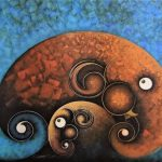 Elephant, Elephant Painting, Picture, artwork, art, elephant art, elephant image, elephants in art, box frame, boxframed art, original, quirky art, creative, colours, juicy colours, round shapes, ying yang, zen, harmony, sustainably produced, ethical , Trio in Blue