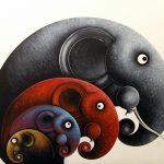 Elephant, Elephant Painting, Picture, artwork, art, elephant art, elephant image, elephants in art, box frame, boxframed art, original, quirky art, creative, colours, juicy colours, round shapes, ying yang, zen, harmony, sustainably produced, ethical , Four By Four, Family of Four, 4 elephants