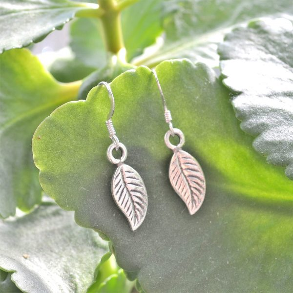 leaf earrings, silver, fine silver, ethical, fairly traded