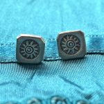 Fair Trade, Samantha Stud Earrings,Studs, Earrings, oxidised, stamped, silver, fine silver, fairly traded, ethical, jewellery, jewelry, slow fashion, square studs, silver studs, sunburst
