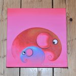 Elephant, Elephant Painting, Picture, artwork, art, elephant art, elephant image, elephants in art, box frame, boxframed art, original, quirky art, creative, colours, juicy colours, round shapes, ying yang, zen, harmony, sustainably produced, ethical , Pink, Pretty in Pink, original art, original painting,