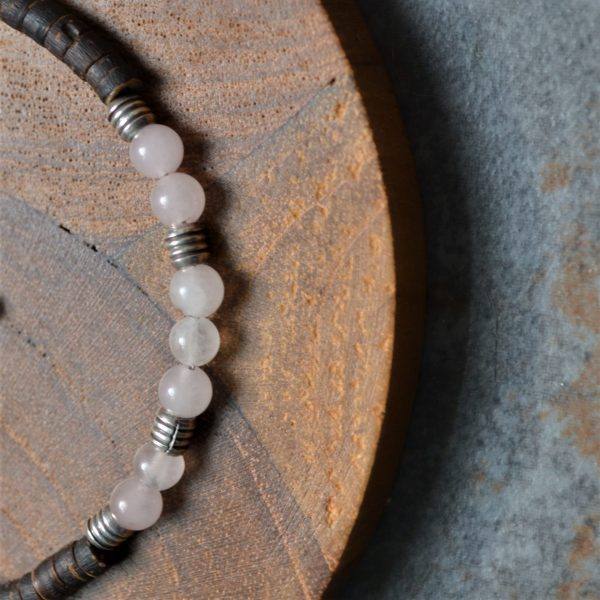 Gemstone Anklet,, Rose quartz, rose quartz anklet,Fair trade, Fairly Traded, Fairly Traded anklet, anklet, coconut wood anklet, beaded anklet, slow fashion, ethical fashion, boho fashion, unusual jewellery, fine silver, silver, handmade anklet, handmade silver, handcrafted, stamped silver, oxidised silver, jewellery, jewelry, women, jewellery for women, ethical jewellery, hill tribe silver, Karen jewellery, Karen jewelery, boho chic, bohemian fashion, free spirit jewellery, accessories, Ethical, Ethically made, Ethical fashion, ethical jewelry, beads, beaded anklet, gem stone anklet, chakra, chakra anklet
