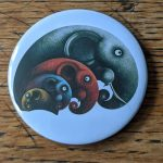 Elephant, artwork, art, elephant art, elephant image, elephants in art, original, quirky art, creative, colours, juicy colours, round shapes, ying yang, zen, harmony, sustainably produced, ethical, magnet, fridge magnet, magnetic, elephant magnet, four by four