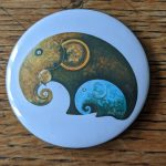 Elephant, artwork, art, elephant art, elephant image, elephants in art, original, quirky art, creative, colours, juicy colours, round shapes, ying yang, zen, harmony, sustainably produced, ethical, magnet, fridge magnet, magnetic, elephant magnet, Little Blue and Big Brown