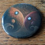 Elephant, artwork, art, elephant art, elephant image, elephants in art, original, quirky art, creative, colours, juicy colours, round shapes, ying yang, zen, harmony, sustainably produced, ethical, magnet, fridge magnet, magnetic, elephant magnet, Millie and Billie